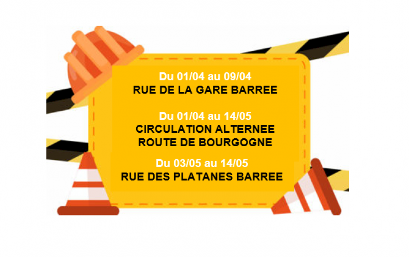 MODIFICATION DE LA CIRCULATION ENTRE LE 01/04 ET LE 14/05